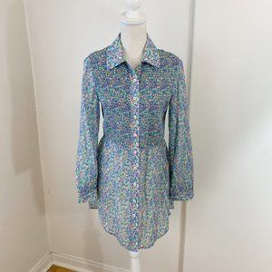 Pell & Co. Multi Colored Smocked Button Down Small